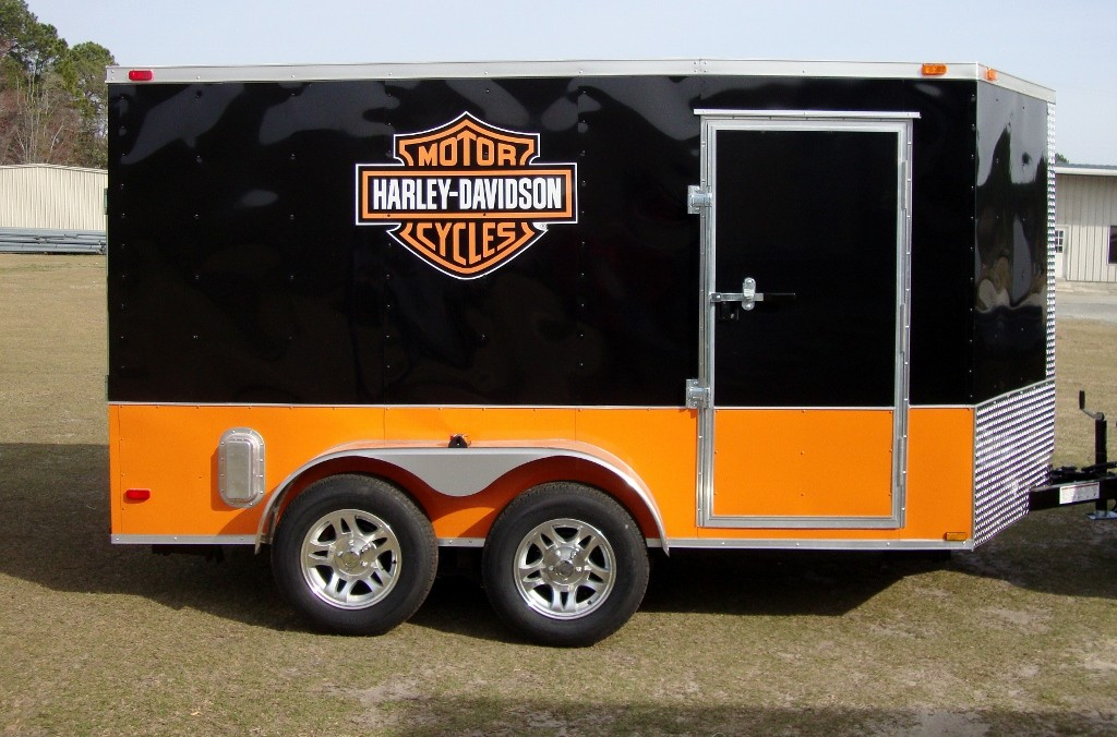 New 7x14 7 x 14 Tandem Axle Enclosed Harley Motorcycle Cargo Trailer