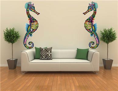 xxl sea horse ocean decor mural wall art bathroom decor. Black Bedroom Furniture Sets. Home Design Ideas