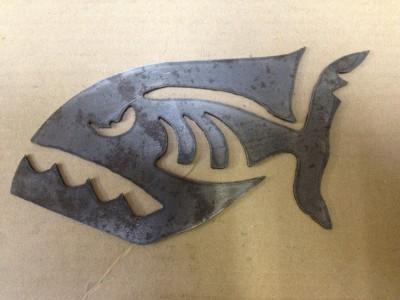 Scary Piranha Fish Metal Stencil Art Decal Cnc Plasma Cut