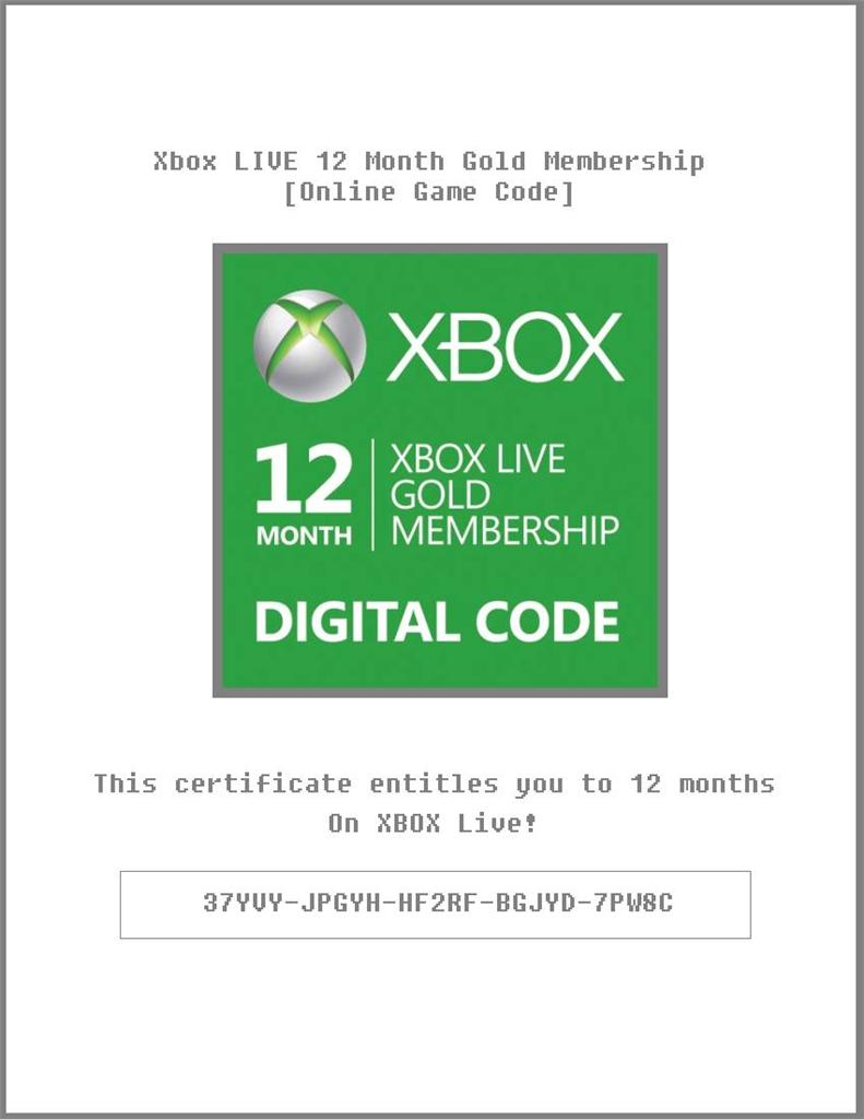 Xbox live 12 month codes / Columbus in usa