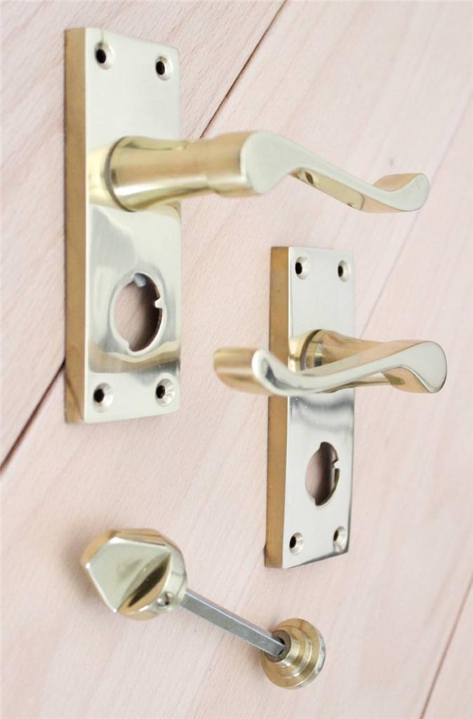 Victorian Scroll Door Handles Lock Latch Bathroom Privacy
