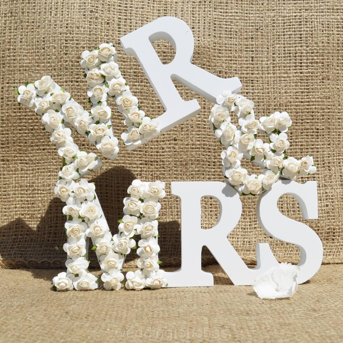 Mr And Mrs Letters Sign White Wood Wedding Gift Mr & Mrs