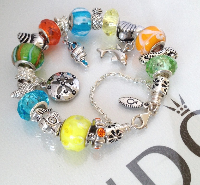 Pandora Jewelry Roll: Authentic Pandora 925 Silver Charm Bracelet Murano Faceted