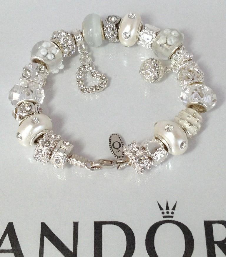 Pandora Jewelry Roll: Authentic Pandora Silver Charm Bracelet Murano Snow White