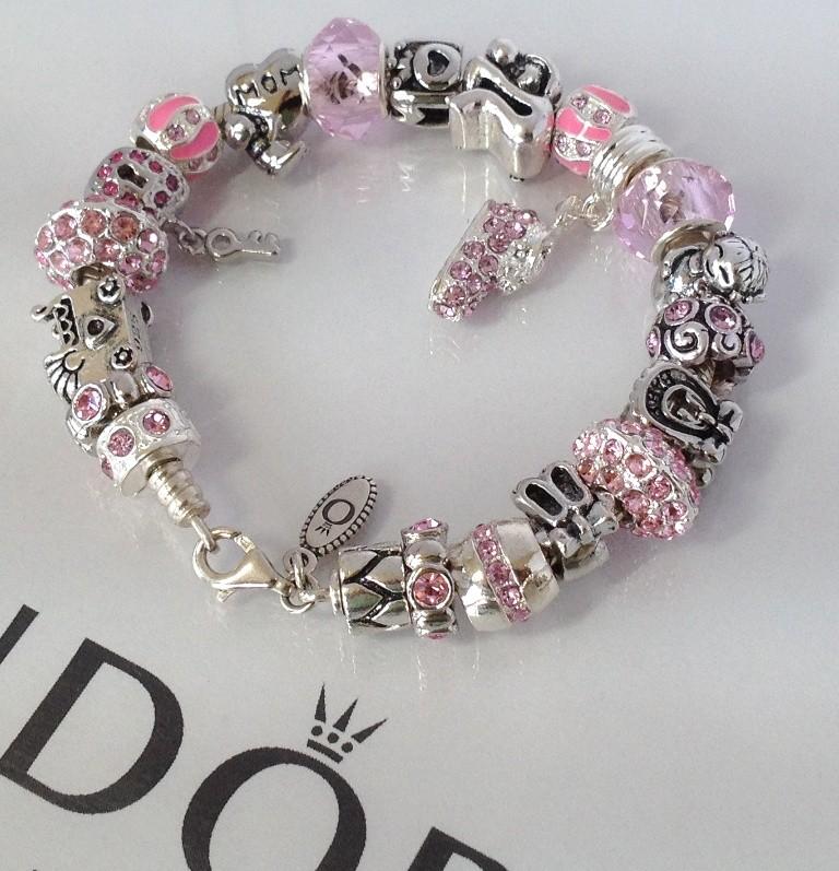 Pandora Jewelry Roll: Authentic Pandora Sterling Silver Charm Bead Bracelet Pink
