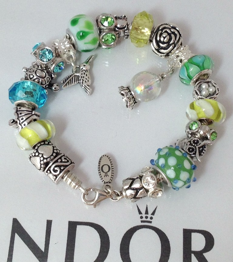 Pandora Jewelry Roll: Authentic Pandora 925 Silver Charm Bracelet Bead Blue