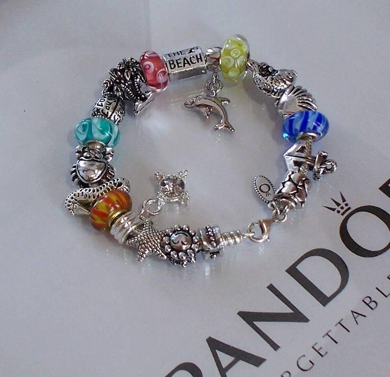 Pandora Jewelry Roll: Authentic Pandora Silver Charm Bracelet Aqua Blue Yellow
