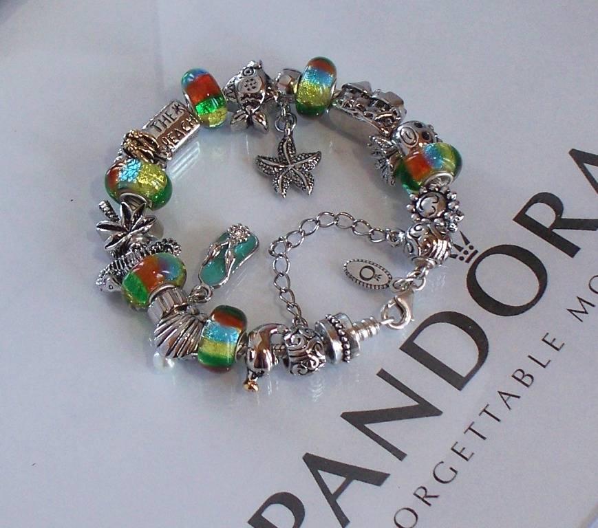 Pandora Jewelry Roll: Authentic Pandora Silver Charm Bracelet Aqua Blue Orange