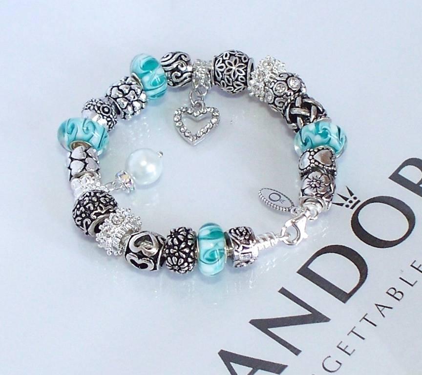 Pandora Jewelry Roll: Authentic Pandora Silver Charm Bracelet Love Crystal Aqua