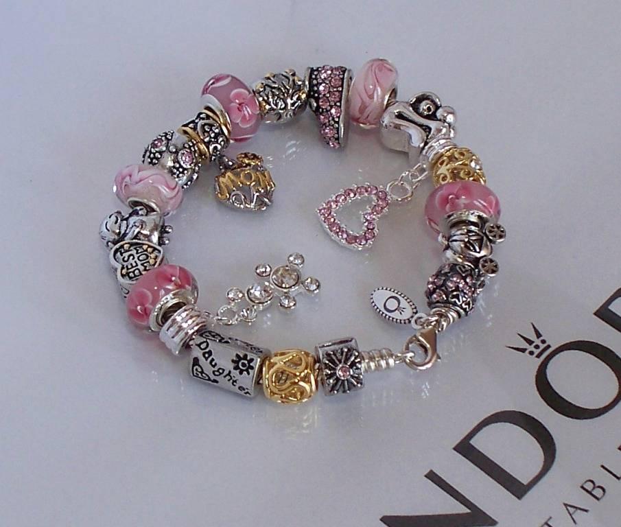 Pandora Jewelry Roll: Authentic Pandora Sterling Silver Charm Bracelet PInk Gold