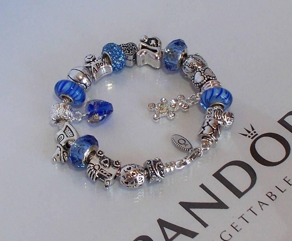 Authentic Pandora 925 Sterling Silver Charm Bracelet Blue