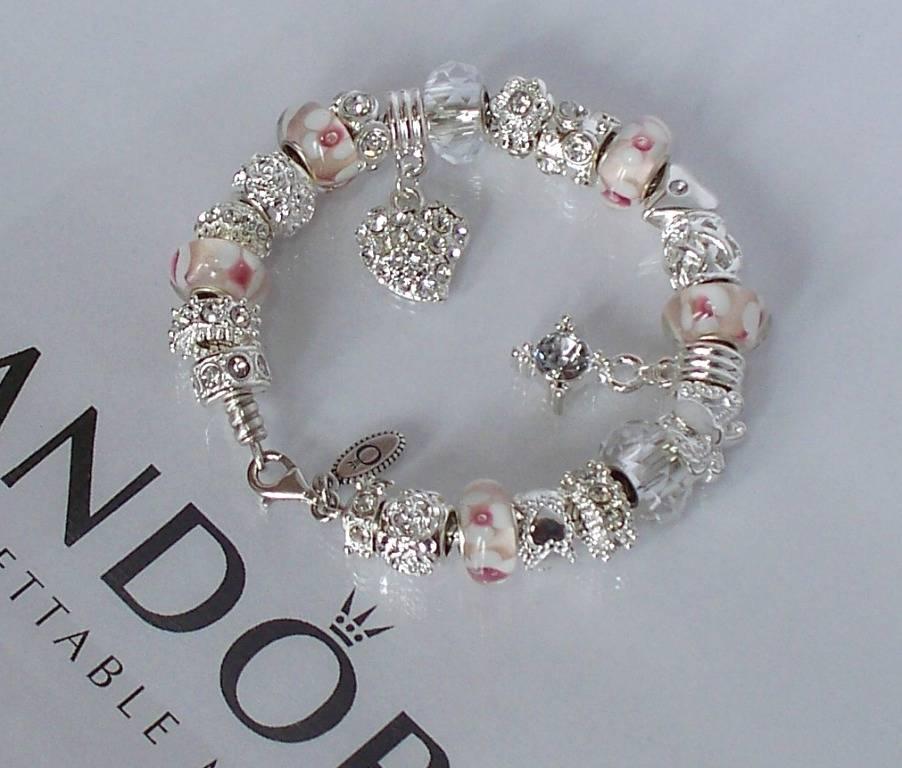 Pandora Jewelry Roll: Authentic Pandora Silver Charm Bracelet White Pink Love