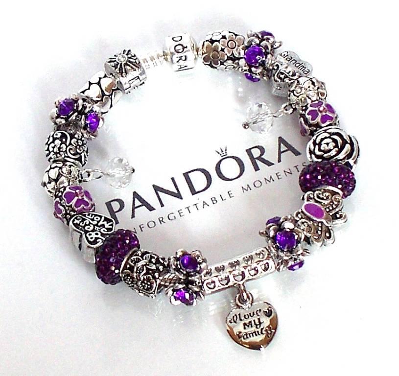 Pandora Jewelry Roll: Authentic Pandora Silver Charm Bracelet Pugster Purple