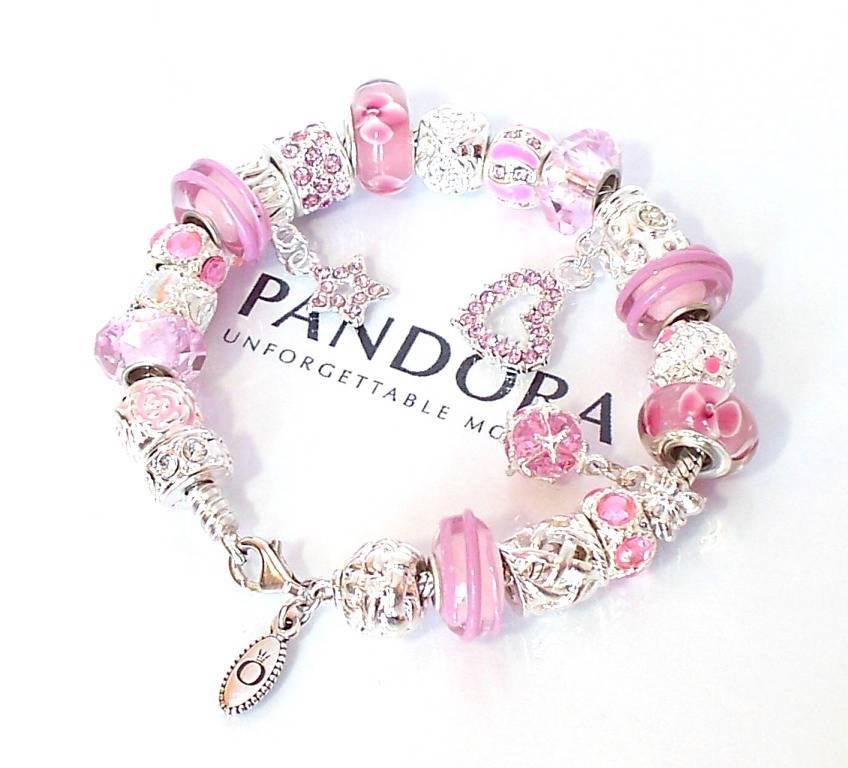 Pandora Jewelry Roll: Authentic Pandora Silver Charm Bracelet Love Pink Crystal