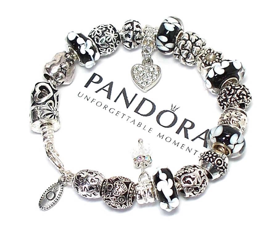 Pandora Jewelry Roll: Authentic Pandora Silver Charm Bracelet Black White
