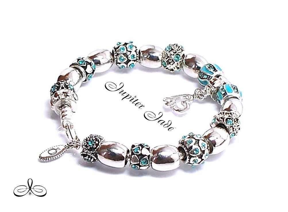 Authentic Pandora Silver Bracelet European Charms Platinum Elegance Turquoise
