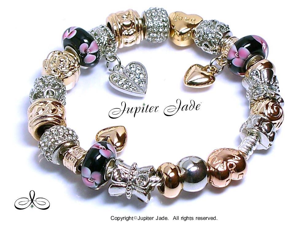 Authentic Pandora Charm Bracelet Rose Gold Heart Clasp