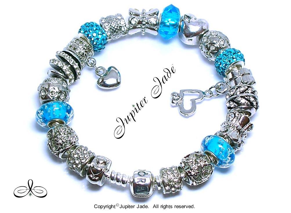 Authentic Pandora Silver Charm Bracelet European Charms