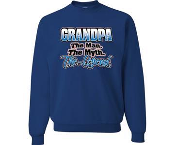 #1470 Grandpa The Man The Myth The Legend Fathers Day Adult Crewneck Sweatshirt