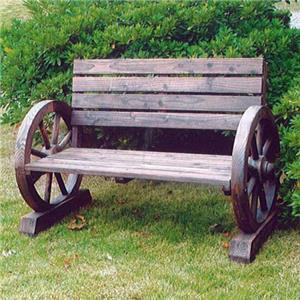 br l bois roue de charrette banc jardin d 39 ext rieur d cor 3 places wagon ebay. Black Bedroom Furniture Sets. Home Design Ideas