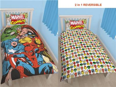 marvel comics 39 gerechtigkeit neu 39 einzelbettbezug set 2 in 1 kinder bettw sche 5055285383268 ebay. Black Bedroom Furniture Sets. Home Design Ideas