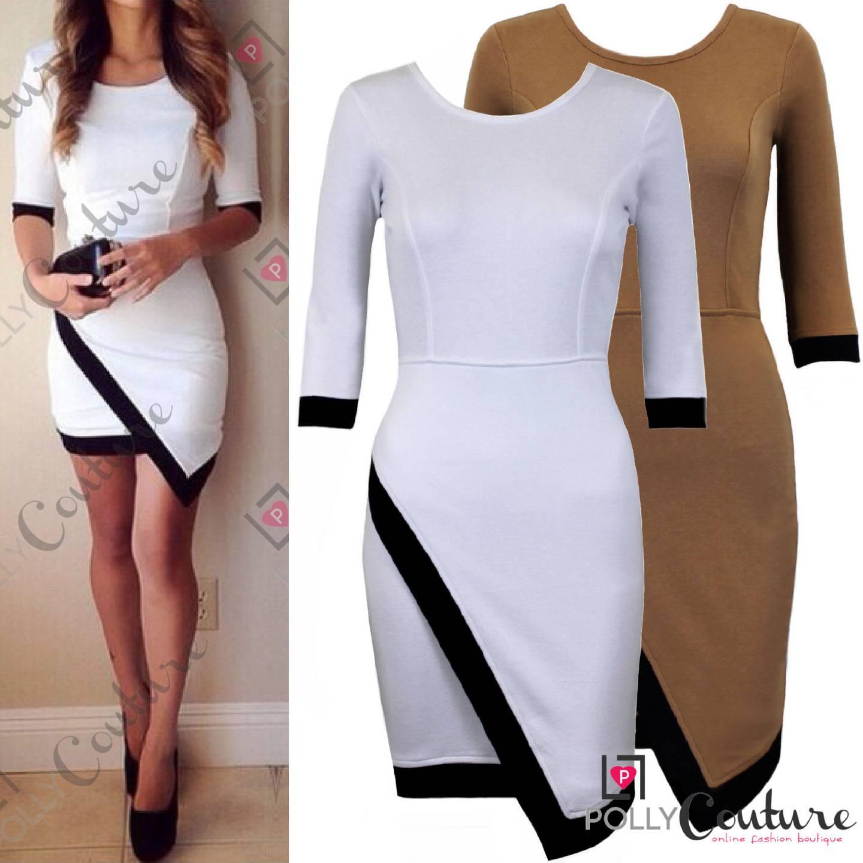 Womens Boutique White Black Asymmetric Long Sleeve Bodycon
