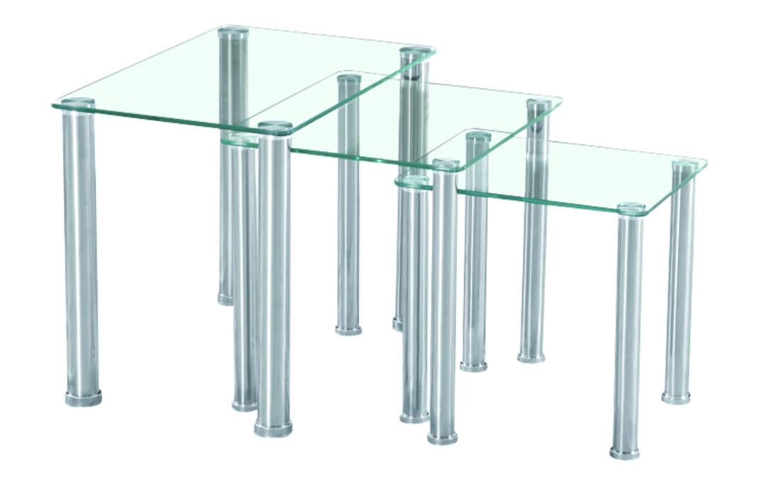 Set Of 3 Glass Tables: Nest Of 3 Glass Tables Tempered Glass Side Table Set Glass