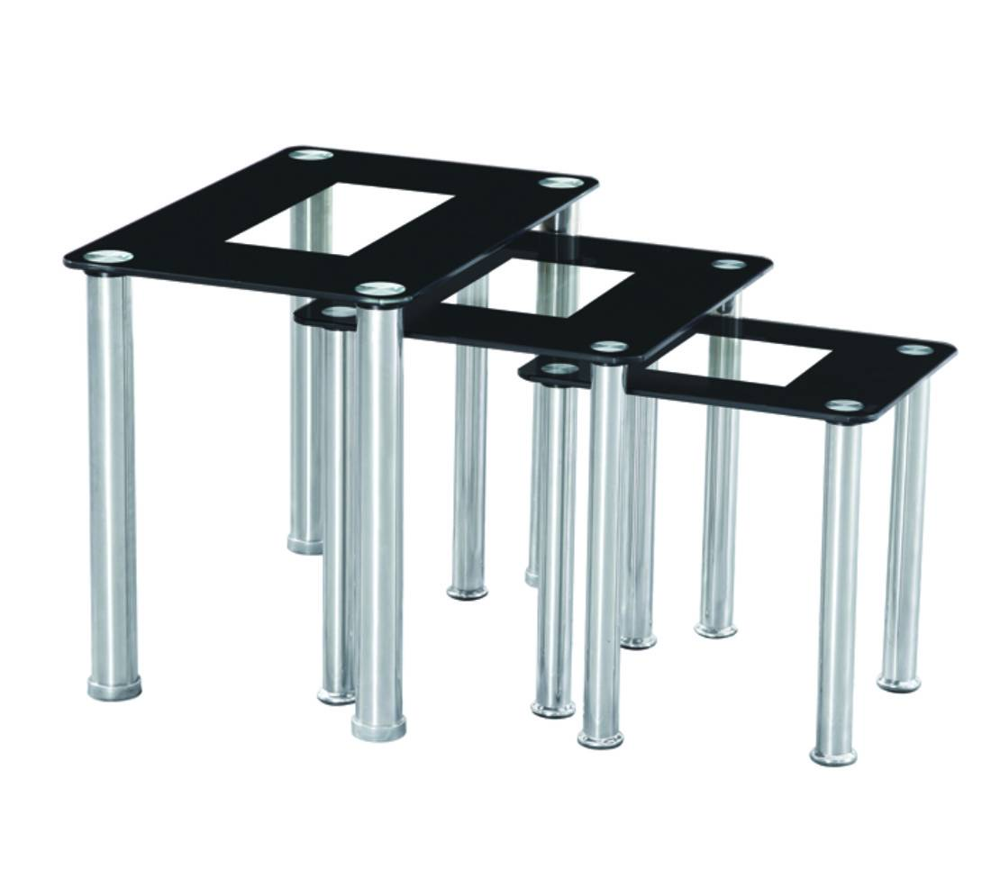 Nest Of 3 Glass Tables Tempered Glass Side Table Set Glass