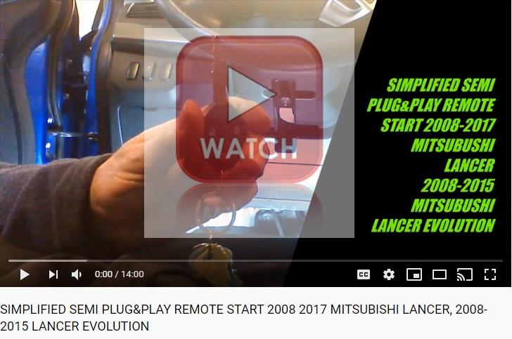 100% Plug & Play remote start video 2008-2017 MITSUBISHI lancer
