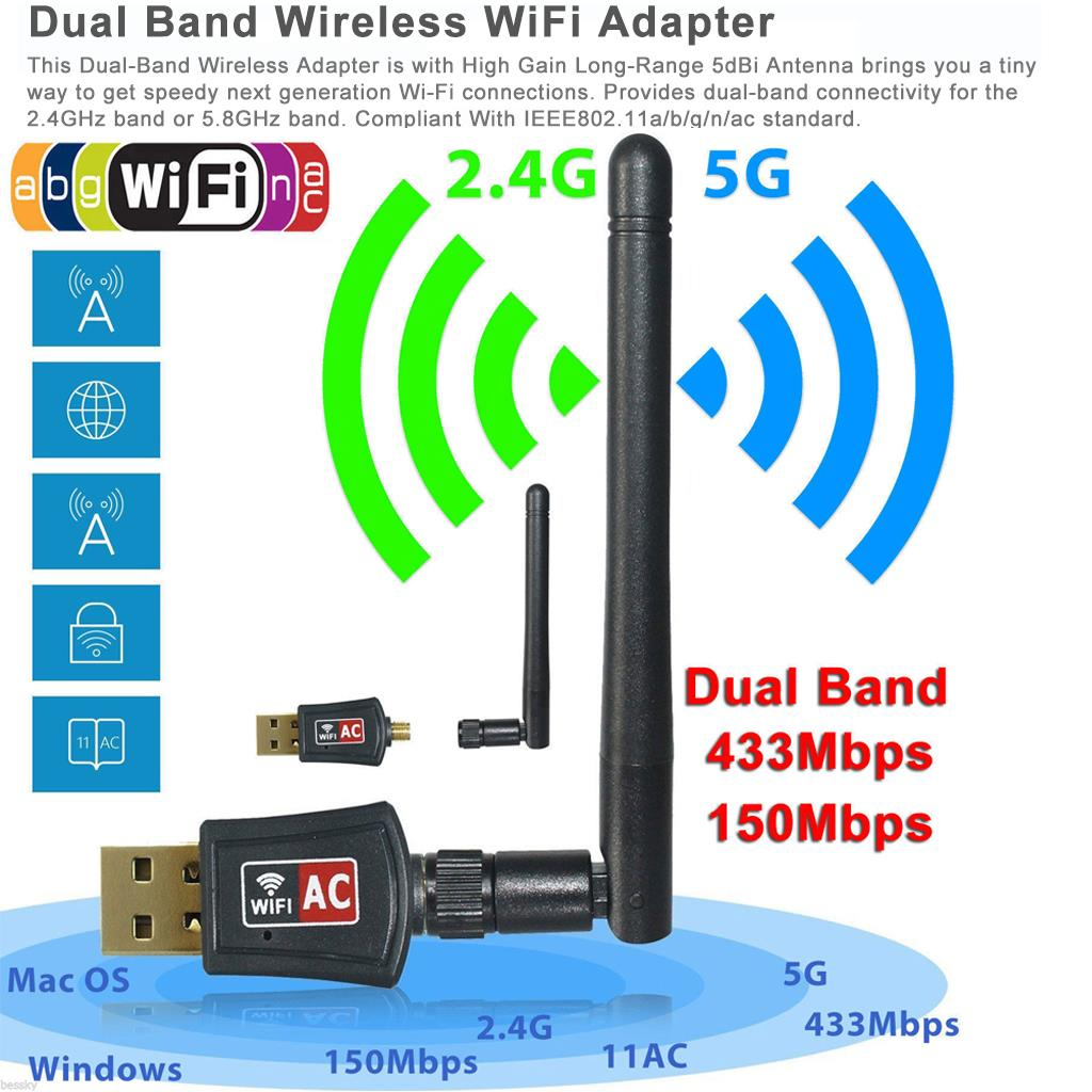 600Mbps Dual Band 2.4G 5G Wireless USB WiFi Network Adapter w/Antenna 802.11AC | eBay