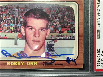 Bobby Orr Signed 1966 Topps Rookie Card Rc 35 Psa Graded