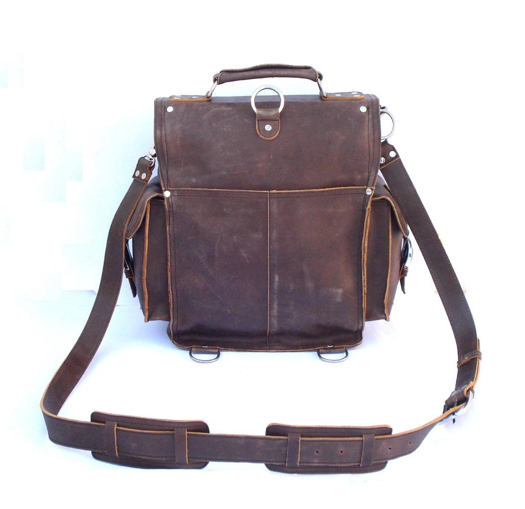 Large Vintage Style Rugged Leather Briefcase Messenger Bag