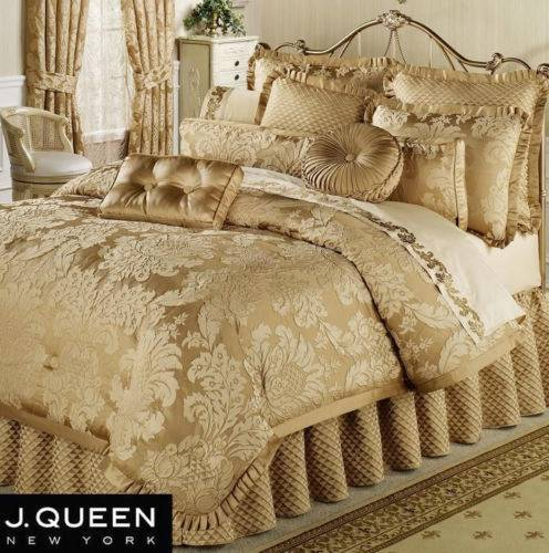 J Queen New York Contessa Gold King Queen Comforter Set Bed Skirt Shams