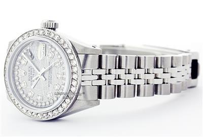 Rolex Lady Datejust Oyster Perpetual Ss 18k White Gold Meteorite Diamond Watch Ebay