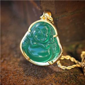 Mens 18k Gold Green Jade Buddha Pendant And Rope Chain