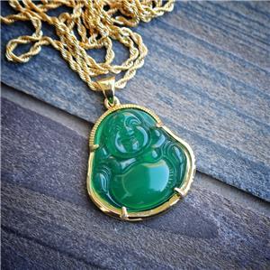Green jade buddha pendant necklace set 18k gold plated hip hop green jade buddha pendant necklace set 18k gold plated hip hop jewelry aloadofball Gallery
