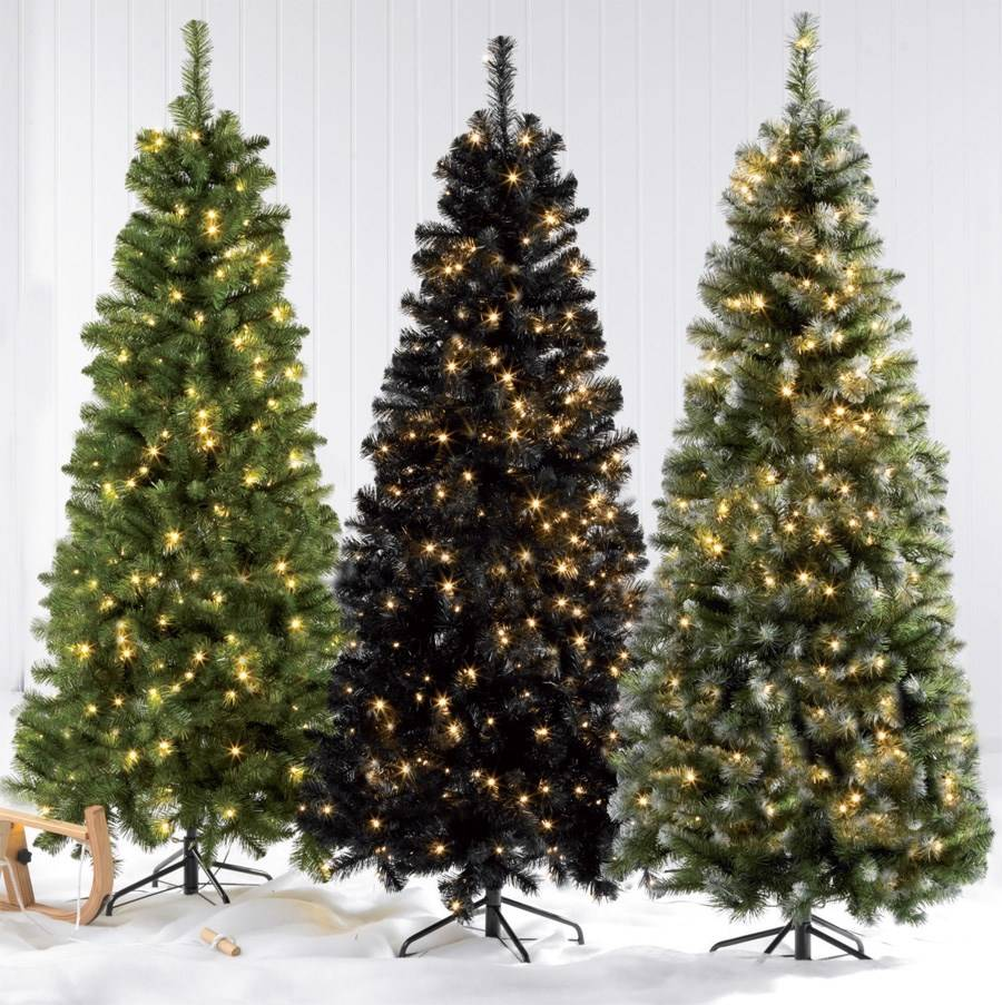 Black Artificial Christmas Trees: 6ft, 5ft, 4ft, Deluxe Pre Lit LED Xmas Frosted Green Black