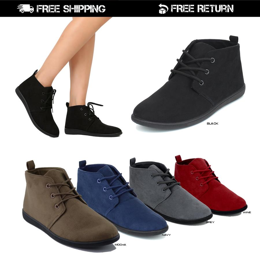 3a64732fd7583 NEW Women Casual Lace Up Slip On Faux Suede Oxford Flat Heel Ankle ...