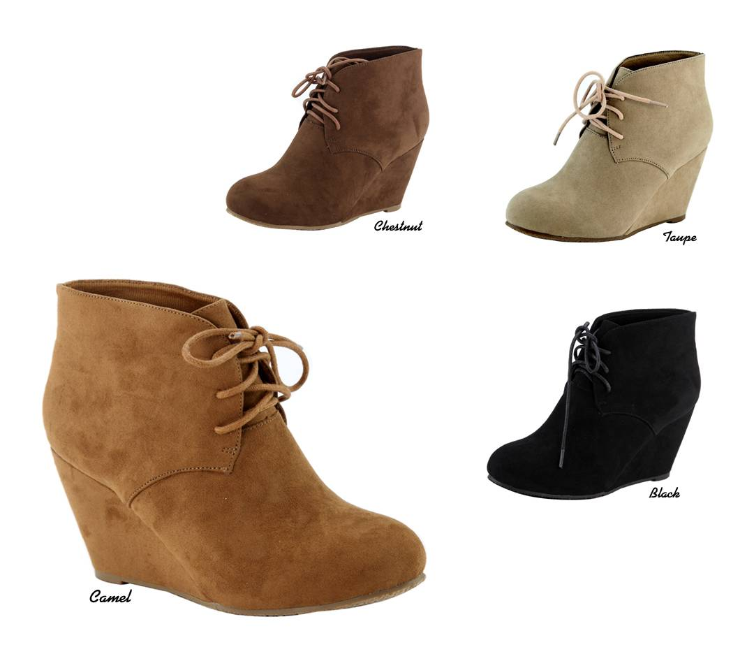 NEW Women Micro Suede Chukka Style Lace Up Wedge Heel ...