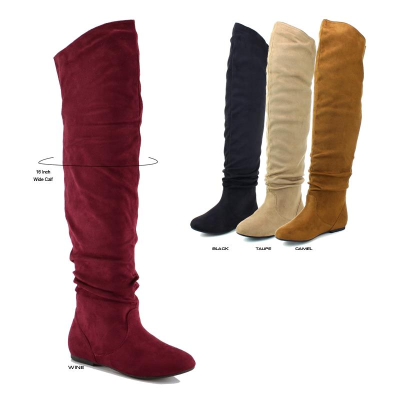 NEW Women Faux Suede Over The Knee High
