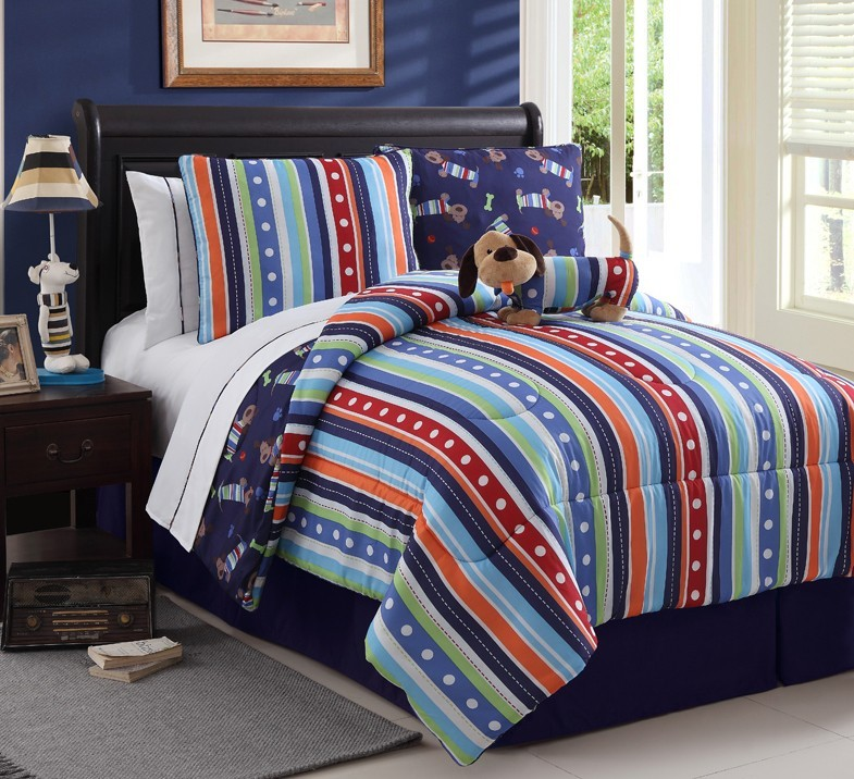 boys bed in a bag reversible multi color set twin or full machine washable ebay. Black Bedroom Furniture Sets. Home Design Ideas