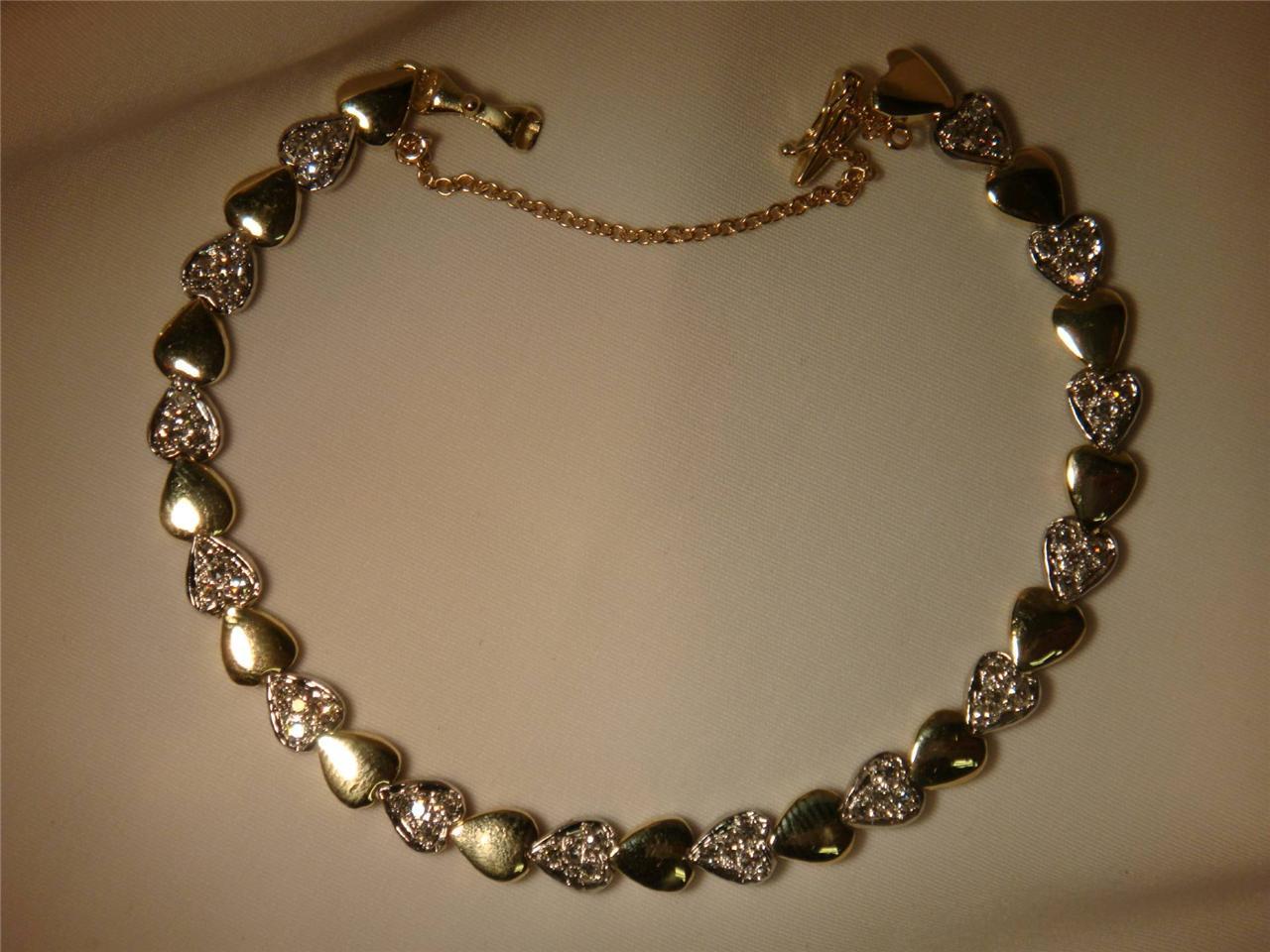 Beautiful 14k Gold and Diamonds Two Tone Heart Bracelet | eBay