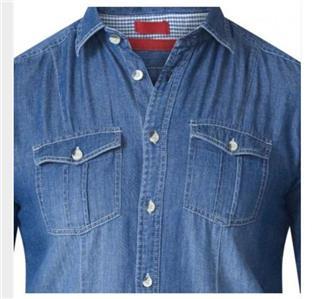 6XL Mens Quality Big//Tall Grandad Collar Denim Shirt 3XL