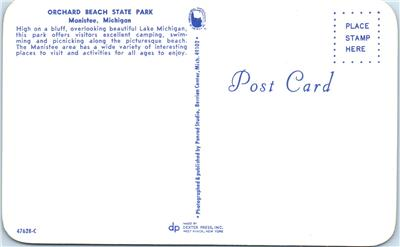 Campground  Postcard Lake Michigan Orchard Beach State Park North of Manistee