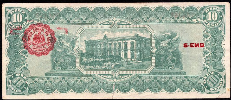 bn05 diez pesos mexico banknote military decree 1914 chihuahua ebay. Black Bedroom Furniture Sets. Home Design Ideas