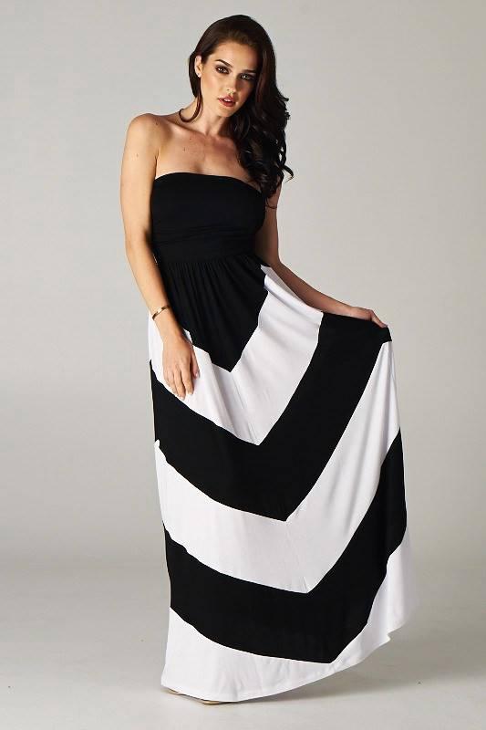 Blue and White Strapless Maxi Dress – Fashion dresses
