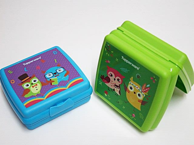 New-Tupperware-Sandwich-Keeper-Lunch-Box-With-Prints-Set-of-2-Free-Shipping