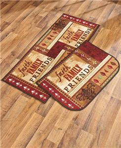Faith Family Friends Rug Set Rustic Red Country Kitchen