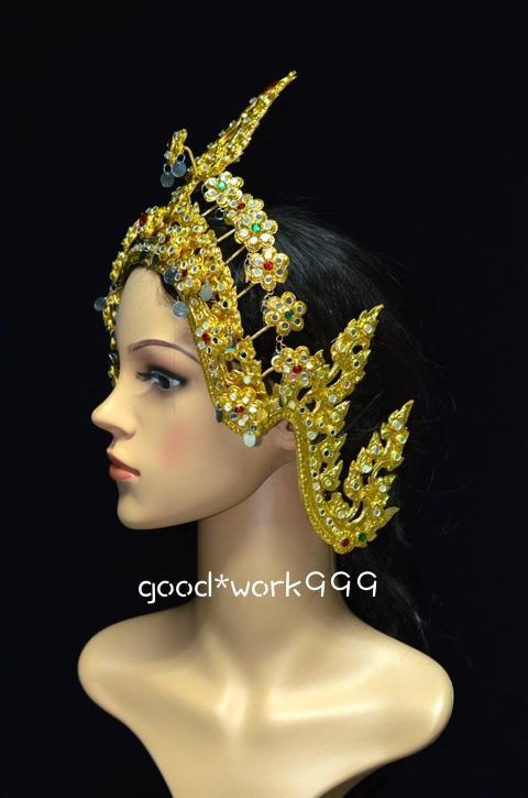 thai dance ramthai headdress tiara head costume theater dancing dress crown t7