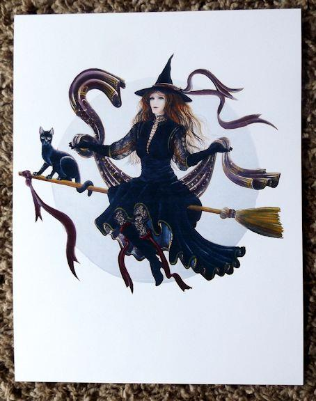 Folk Art Halloween PRINT  Detailed Witch with Black Cat Flying Moon  PRINT Byrum
